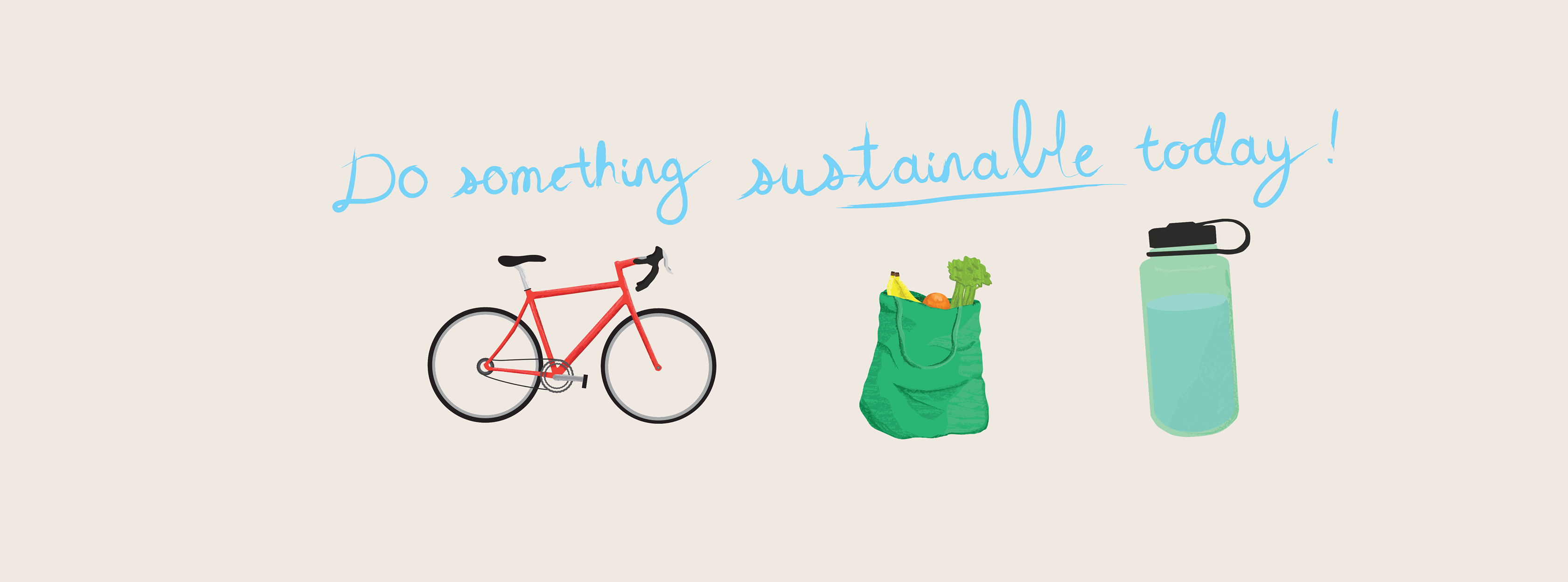 Do something sustainable today with bike reusable bag and reusable water bottle
