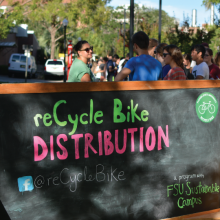 ReCycle Bike Distribution Chalkboard Sign